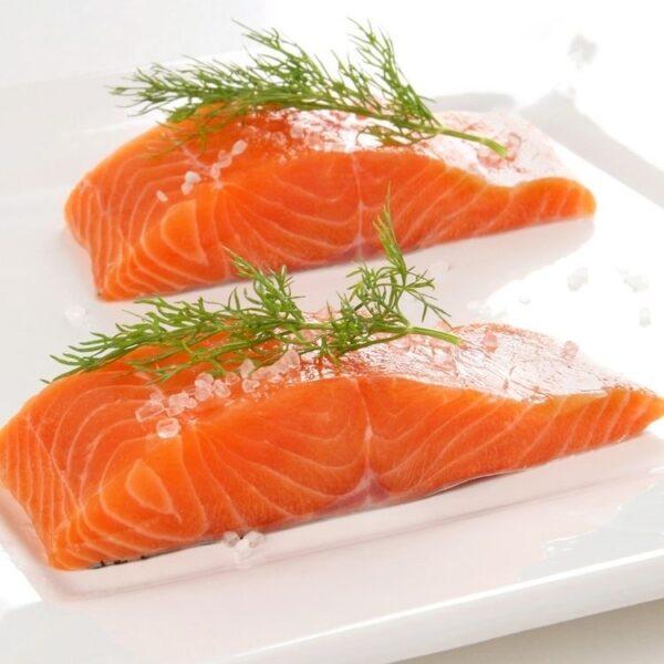 raw salmon portions 200g
